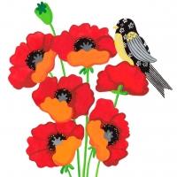 yellow-bird-on-poppies