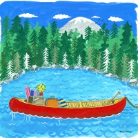 lake with canoe