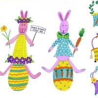 2 bunnies on eggs
