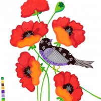 lavendar-bird-in-poppies